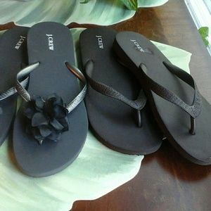 J.CREW  2 PAIR OF FLIP FLOPS  SIZE 9